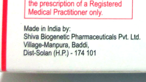 Made in India by: Shiva Biogenetic Pharmaceuticals Pvt. Ltd.